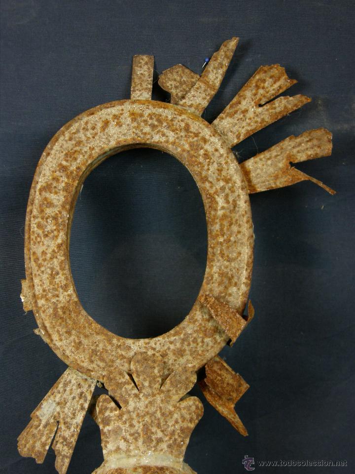 Antigüedades: remate de resplandor procesional hojalata ovalo radiado altura 47 cm ancho 22 cm peso 440 gr - Foto 4 - 43419653