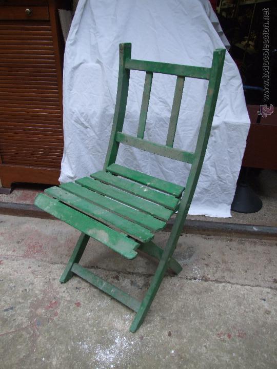 Silla plegable jardin en madera pintada comprar sillas antiguas en todocoleccion 43433954 - Pintar sillas de madera ...