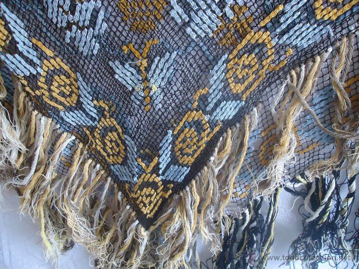 Antigüedades: Tapete antiguo a punto de red o malla no ganchillo similar perlé , años 40 - Foto 2 - 43436232