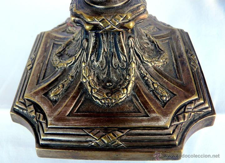 Antigüedades: PAREJA CANDELABROS ANTIGUOS ESTILO LUIS XVI - FRANCIA , BRONCE - Foto 5 - 43444931