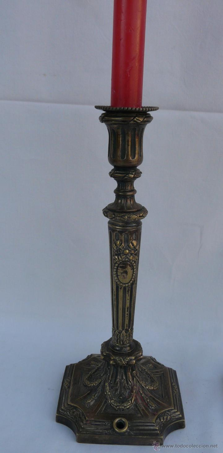 Antigüedades: PAREJA CANDELABROS ANTIGUOS ESTILO LUIS XVI - FRANCIA , BRONCE - Foto 9 - 43444931
