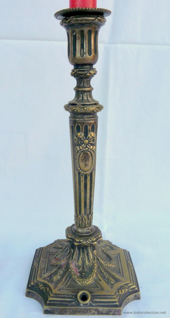 Antigüedades: PAREJA CANDELABROS ANTIGUOS ESTILO LUIS XVI - FRANCIA , BRONCE - Foto 15 - 43444931