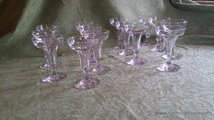Antigüedades: copas antiguas cristal soplado. vidrio españa - Foto 6 - 43446743