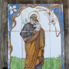 Antigüedades: ESPECTACULAR RETABLO AZULEJOS ANTIGUOS MANISES MODERNITAS 1916 J.CHUST IMAGEN SAN JOSE CON NIÑO. Lote 43365429