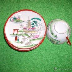 Antigüedades: 6 PLATITOS DE CAFE Y UNA TAZA, JAPONESES MAS DE 150 AÑOS. Lote 43486819