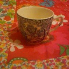Antigüedades: TAZA DE CAFÉ EN PORCELANA INGLESA EN TONOS AZULES Y BLANCOS AÑOS 20/30. Lote 43489446