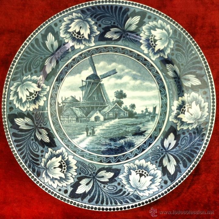 PLATO ANTIGUO EN SEMIPORCELANA SELLADO DELFT (Antigüedades - Porcelana y Cerámica - Holandesa - Delft)