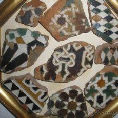 Antigüedades: AZULEJO. CUADRO CON NUEVE FRAGMENTOS VARIADOS DE AZULEJOS DE TOLEDO SIGLO XV-XVI MUDEJAR. Lote 43521362