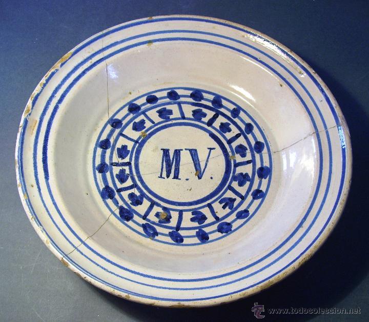 GRAN PLATO ARAGONES DE MUEL XIX (Antigüedades - Porcelanas y Cerámicas - Teruel)