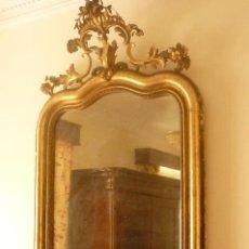 Antiguidades: ESPECTACULAR ESPEJO FINALES SIGLO XIX, PAN DE ORO 24 K, CON CORNUCOPIA.. Lote 43531381