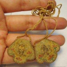 Antigüedades: ANTIGUO ESCAPULARIO DE LA VIRGEN DEL CARMEN. S.XIX. PINTADO A MANO.. Lote 43545937