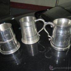 Antigüedades: 3 COPAS METAL PLATEADO SHEFFIELD ENGLAND DECORADAS - ALTURA 12 CM. . Lote 43557193