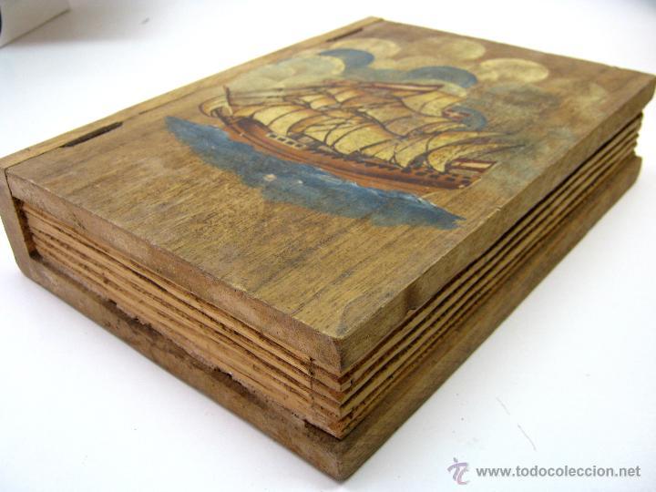 falso libro con pintura de barco velero caja de madera