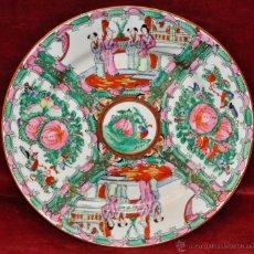 Antigüedades: PLATO DE PORCELANA ORIENTAL HECHO EN MACAU CHINA PINTADO Y ESMALTADO A MANO. SELLADO EN BASE. Lote 43563356