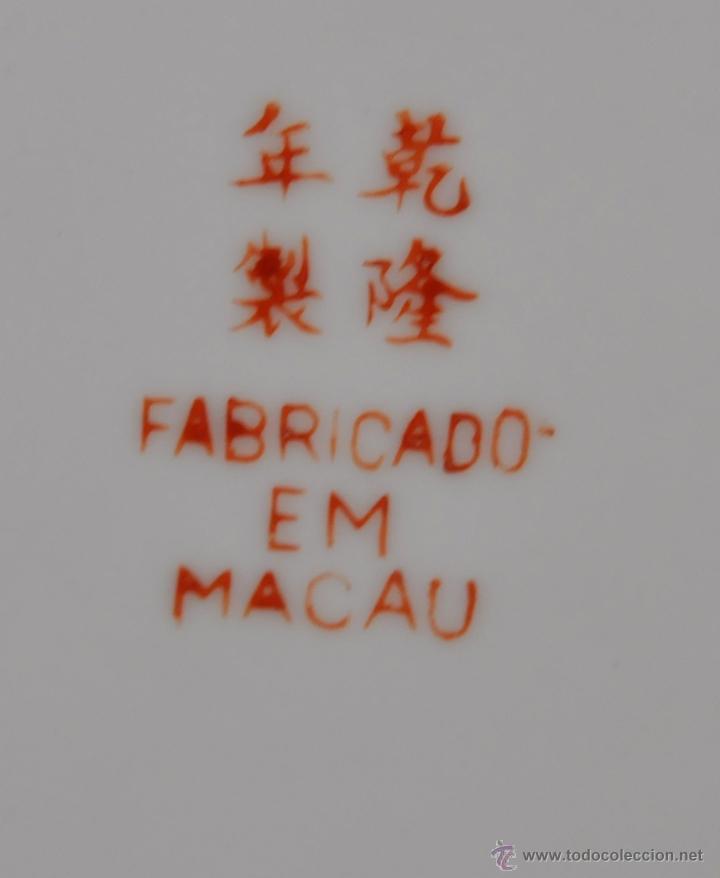 Antigüedades: PLATO DE PORCELANA ORIENTAL HECHO EN MACAU CHINA PINTADO Y ESMALTADO A MANO. SELLADO EN BASE - Foto 5 - 43563356