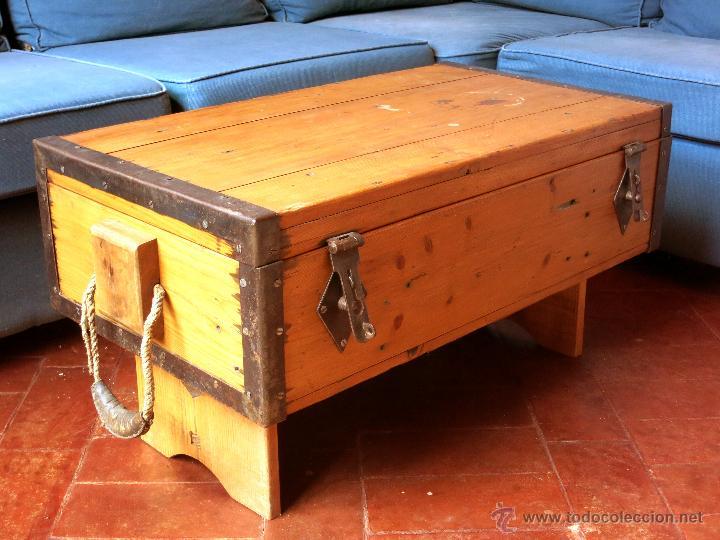 Mesa centro hecha con antigua caja de munici n comprar for Mesas de centro antiguas