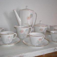 Antigüedades: JUEGO COMPLETO CAFÉ PORCELANA VINTAGE ANTIGUO SANTA CLARA (VIGO). AÑOS 60. Lote 43581598