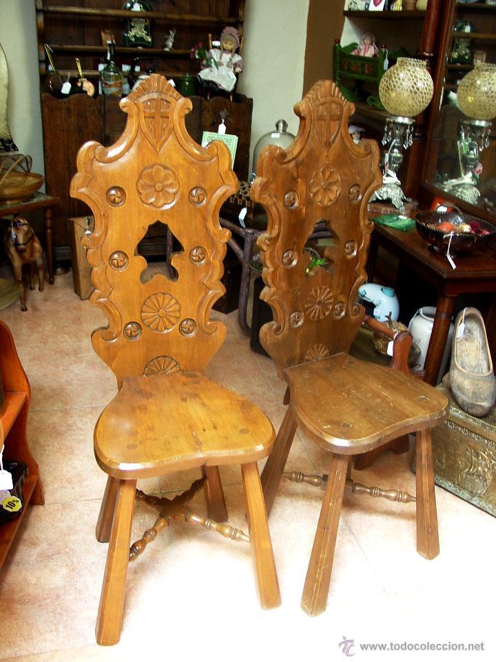 Sillas rusticas antiguas castellanas en madera comprar for Sillas de madera rusticas