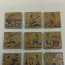 Antiquitäten - BONITO LOTE DE NUEVE BALDOSAS ANTIGUAS DECORADAS CON DIFERENTES OFICIOS - 43597660