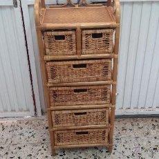 Antigüedades: MUEBLE CAJONERA ANTIGUO DE CAÑA Y MIMBRE. Lote 43610919