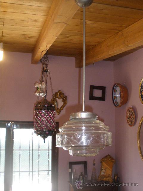 Antigüedades: LAMPARA CON TULIPA CRISTAL TRANSPARENTE - Foto 2 - 43611168