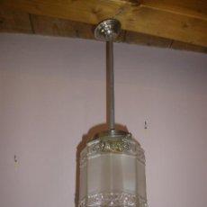 Antigüedades: LAMPARA CON TULIPA CRISTAL DE FORMA OCTOGONAL. Lote 43611316
