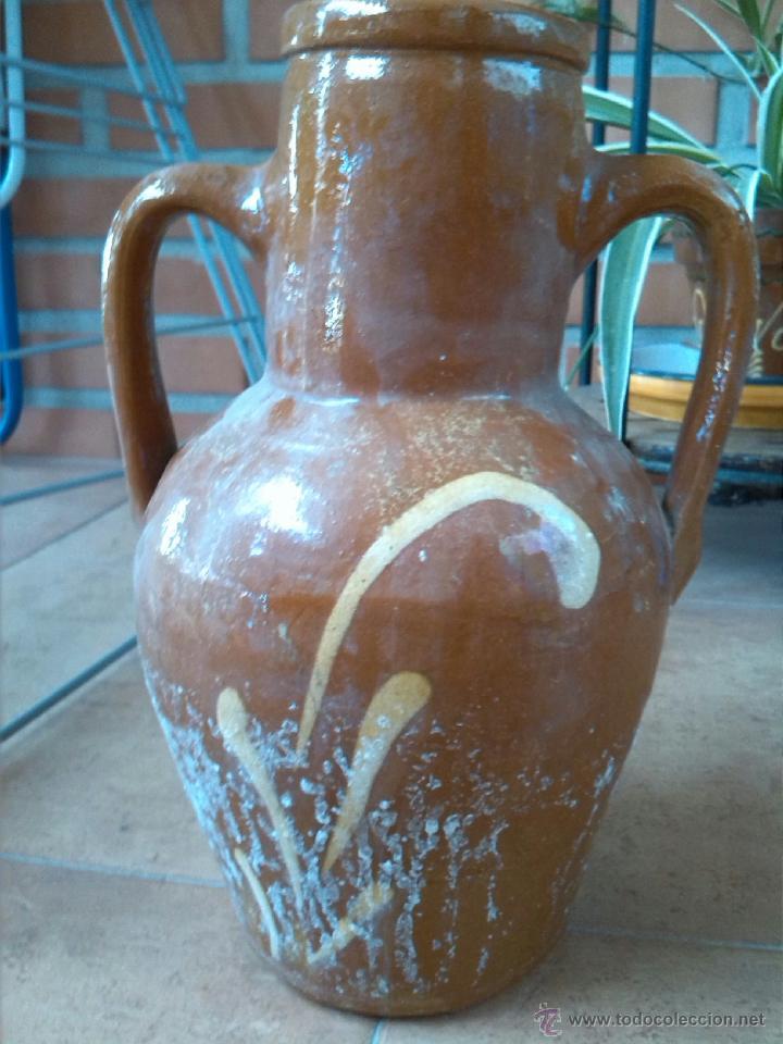 Antigüedades: antiguo botijo de agua, vidriado.manufacturas la bisbal - Foto 4 - 43614381