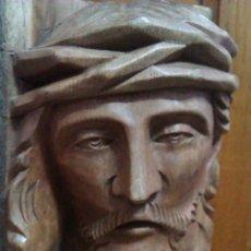 Antigüedades: ANTIGUA TALLA GRANDE DEL ROSTRO DE CRISTO EN TRONCO DE MADERA , BUSTO, FIGURA. Lote 52998328