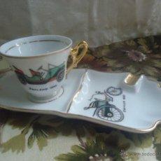 Antigüedades: CENICERO Y JUEGO CAFÉ PORCELANA ESTILO LIMOGES CON COCHE ANTIGUO. Lote 43617287
