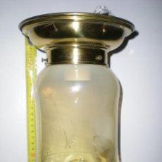 Antigüedades: PRECIOSO PLAFON EN CRISTAL DE MURANO 2 TONOS AMBAR Y BLANCO BASE DE COBRE AÑOS 50. Lote 43618420