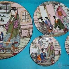 Antigüedades - PLATOS DE PORCELANA SANBO MADE IN SPAIN, DECORADOS ESTILO JAPONES - 43623644