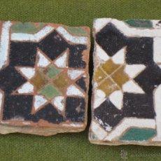 Antigüedades: LOTE DE DOS AZULEJOS ANTIGUOS DE TOLEDO. ARISTA - ARABES/MUDEJARES. SIGLO XV-XVI. AZULEJO/ RACHOLA.. Lote 43644472