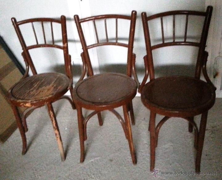 Tres sillas de bar antiguas para restaurar comprar - Restaurar sillas antiguas ...