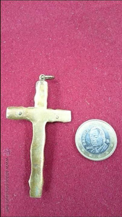 Antigüedades: cruz de bronce antigua - Foto 2 - 43659418