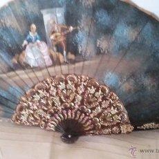 Antigüedades: ABANICO EN CONCHA Y TELA, 43 CM DE VARILLA, VER FOTOS.. Lote 43683910
