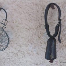Antigüedades: CENCERRO DE LATÓN CON COLLARÍN. Lote 43688099