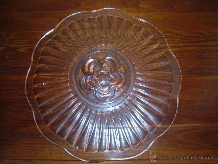 Antigüedades: Plato de cristal prensado - Foto 2 - 43699317