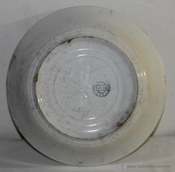 Antigüedades: PLATO HONDO NACARADO - SEVILLA CHINA OPACA - SIGLO XIX - DIÁMETRO: 24.5 CM. - Foto 6 - 43731236