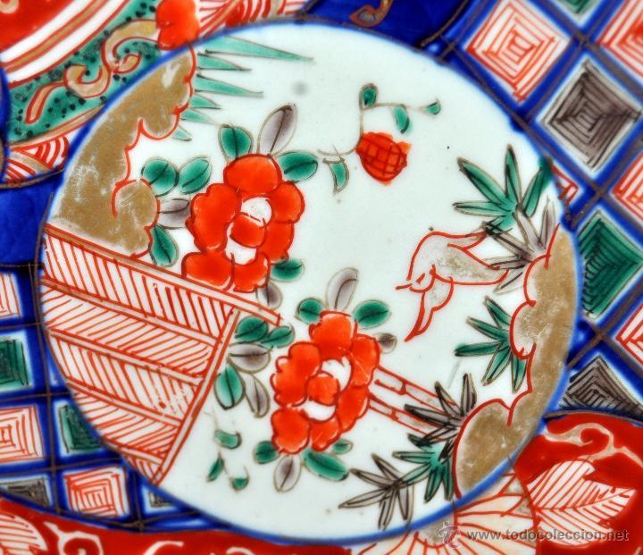 Antigüedades: DECORATIVO PLATO EN PORCELANA PINTADA DE IMARI (JAPON). AÑOS 30 - Foto 3 - 43751562