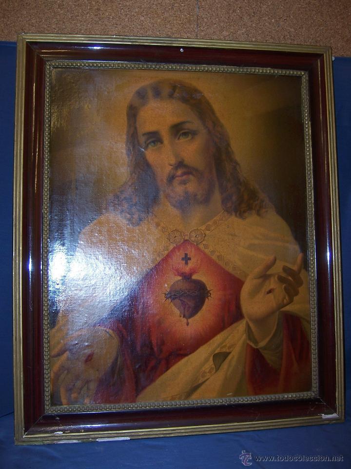 antigua lamina enmarcada del sagrado corazón de - Comprar ...