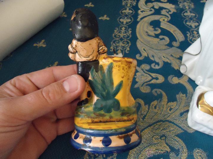Antigüedades: pRECIOSO PORTAVELAS MUY ANTIGUO CON SELLO DE BARRO COCIDO PINTADO A MANO - Foto 4 - 43768061