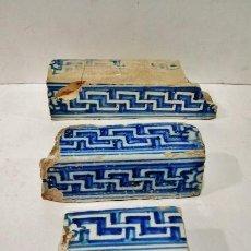 Antigüedades: 3 ALIZARES DE TALAVERA, S. XVI. DIBUJO DE GRECA ESMALTADA EN BLANCO Y AZUL. DETERIOROS DE LA ÉPOCA.. Lote 43776917