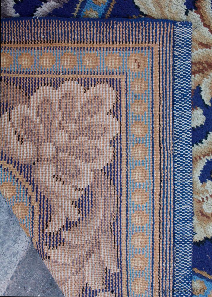 Antigüedades: magnífica alfombra azul anudada a mano, 198 cm x 294 cm. En buen estado general - Foto 3 - 43781867