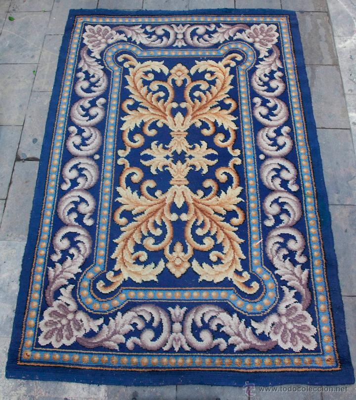 Antigüedades: magnífica alfombra azul anudada a mano, 198 cm x 294 cm. En buen estado general - Foto 4 - 43781867