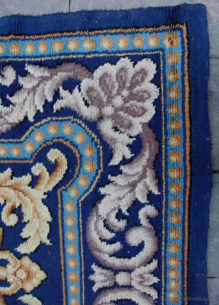 Antigüedades: magnífica alfombra azul anudada a mano, 198 cm x 294 cm. En buen estado general - Foto 6 - 43781867