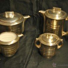 Antigüedades: JUEGO DE CAFE Y TE DE PORCELANA CON BAÑO DE PLATA. Lote 43791772