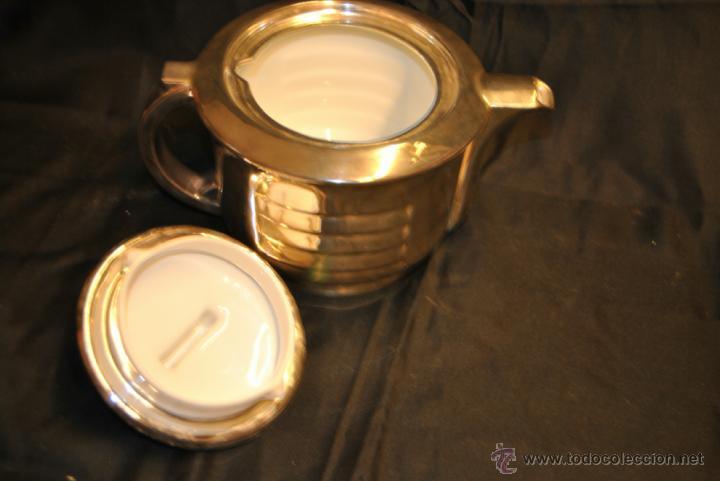 Antigüedades: JUEGO DE CAFE Y TE DE PORCELANA CON BAÑO DE PLATA - Foto 2 - 43791772