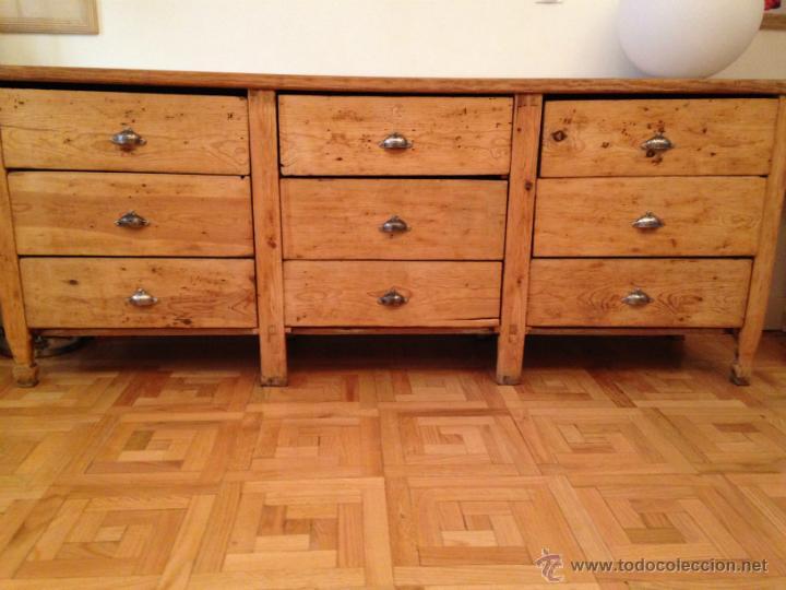 Antiguo mueble mostrador de tienda c moda con comprar - Cajones de madera antiguos ...