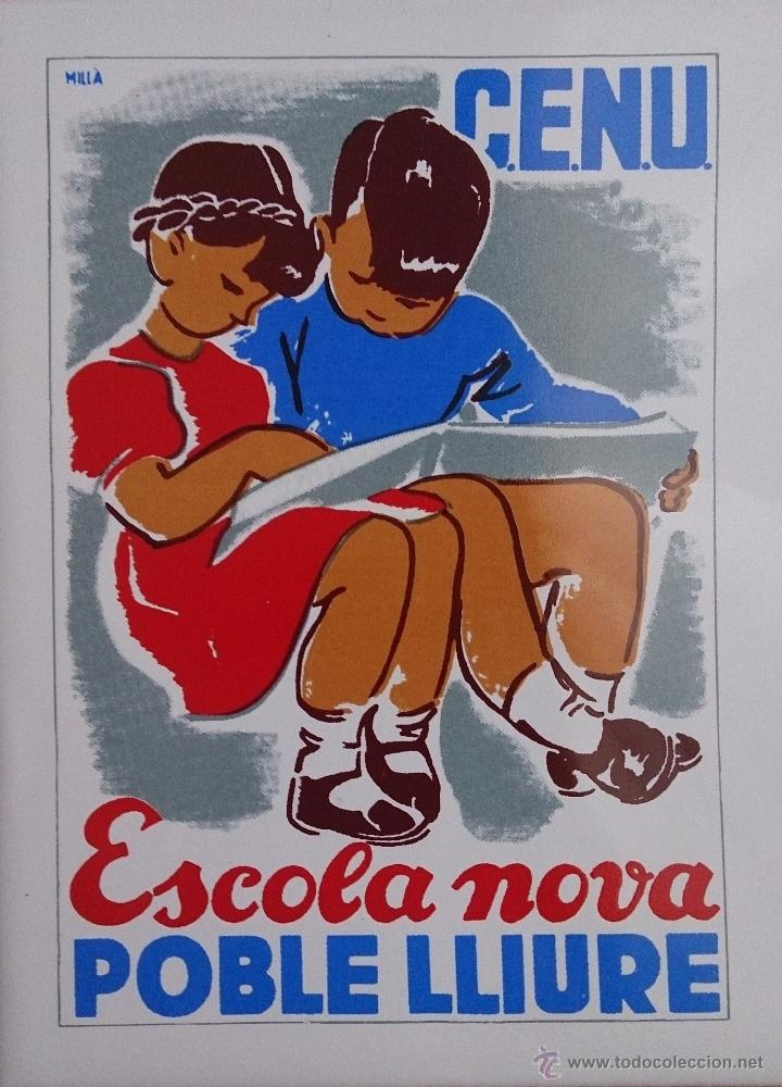 Antigüedades: Antiguo azulejo ( ESCOLA NOVA POBLÉ LLIURE ), concurso literario de Sant Jordi 1978, cartel de 1936 - Foto 3 - 43848071