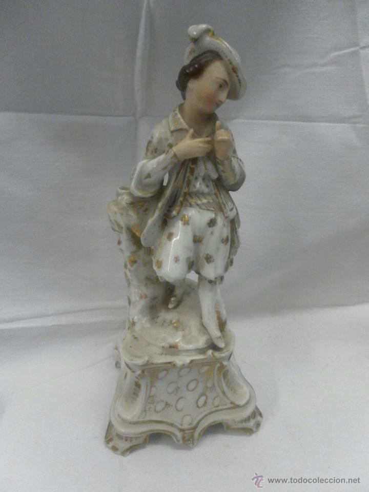 Antigüedades: Pareja figuras porcelana españolas. Época Isabelina - Foto 3 - 43848208